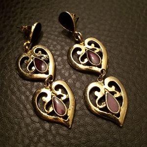 VTG Avon dangle heart earrings
